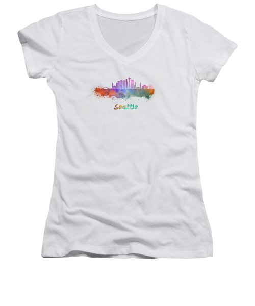 Seattle V2 Skyline In Watercolor Women's V-Neck T-Shirt (Junior Cut) by Pablo Romero