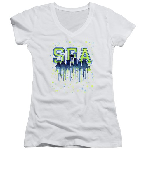 Seattle Watercolor 12th Man Art Painting Space Needle Go Seahawks Women's V-Neck T-Shirt