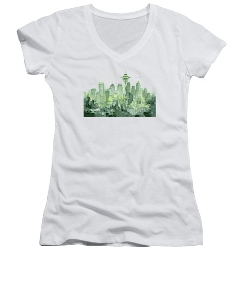 Seattle Watercolor Women's V-Neck T-Shirt (Junior Cut) by Olga Shvartsur