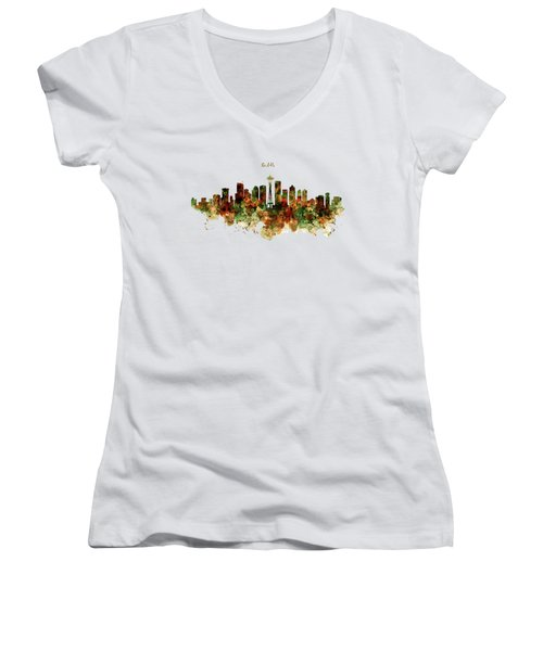 Women's V-Neck T-Shirt (Junior Cut) featuring the mixed media Seattle Watercolor Skyline Poster by Marian Voicu