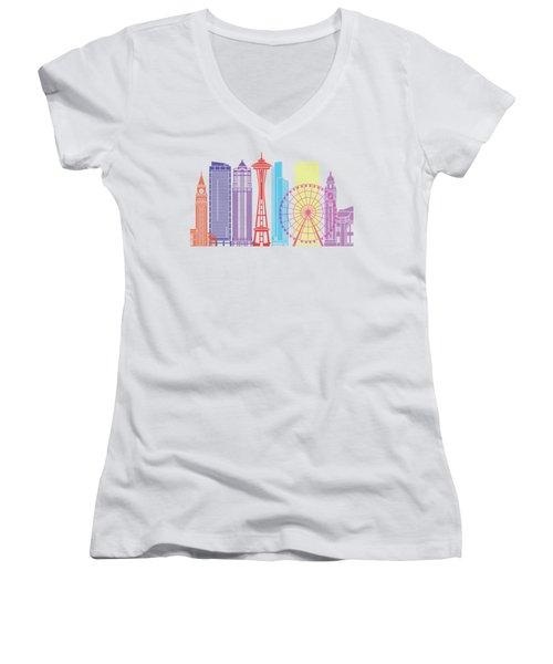 Seattle_v2 Skyline Pop Women's V-Neck T-Shirt (Junior Cut) by Pablo Romero
