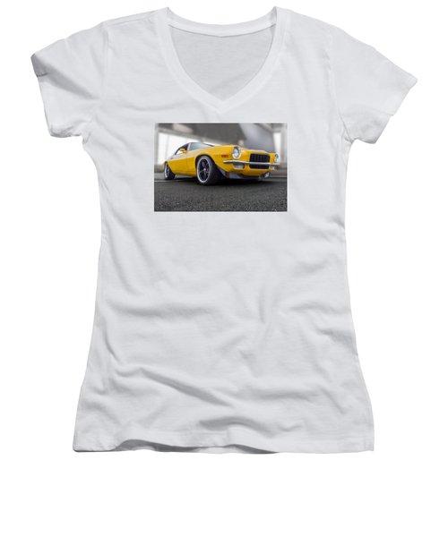 Second Gen Camaro Women's V-Neck T-Shirt (Junior Cut) by Gary Warnimont