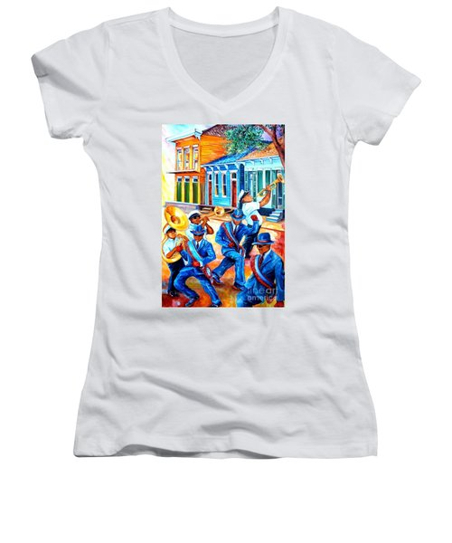 Second Line In Treme Women's V-Neck (Athletic Fit)