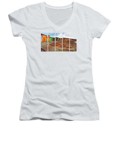 Women's V-Neck T-Shirt featuring the photograph Second Valley Boat Sheds by Stephen Mitchell