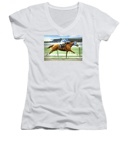 Secretariat On The Back Stretch At The Belmont Stakes Women's V-Neck T-Shirt