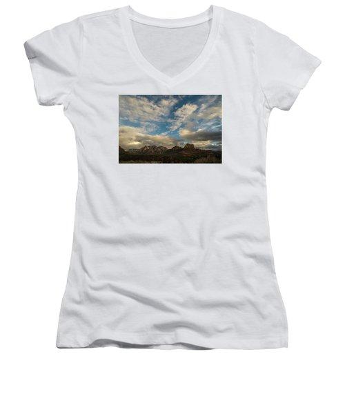 Women's V-Neck T-Shirt (Junior Cut) featuring the photograph Sedona Arizona Redrock Country Landscape Fx1 by David Haskett