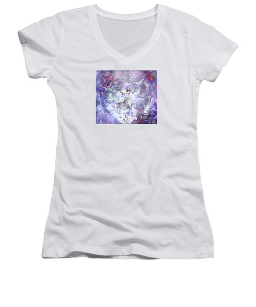 Seek And You Shall Find Women's V-Neck T-Shirt (Junior Cut) by Dolores Develde