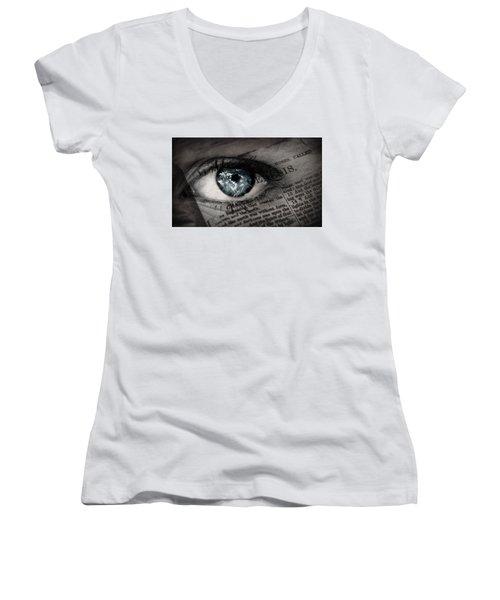 Seek The Truth Women's V-Neck T-Shirt (Junior Cut) by David Norman