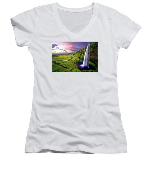 Seljalandsfoss Waterfall Women's V-Neck