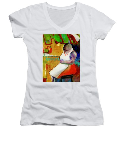 Selling Fruit In Colombia Women's V-Neck (Athletic Fit)