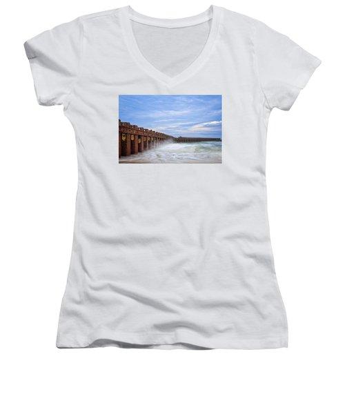 Women's V-Neck T-Shirt featuring the photograph Separation by Alan Raasch