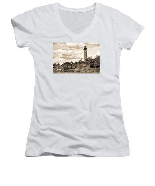 Sepia Lighthouse Women's V-Neck