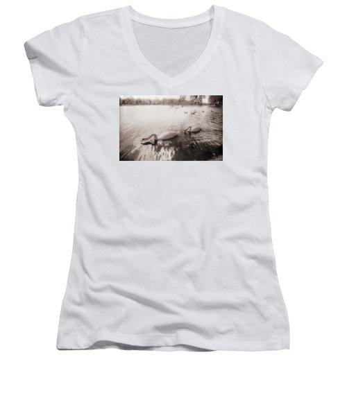 Sepia Swans Women's V-Neck
