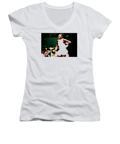 Serena Williams Making History Women's V-Neck T-Shirt