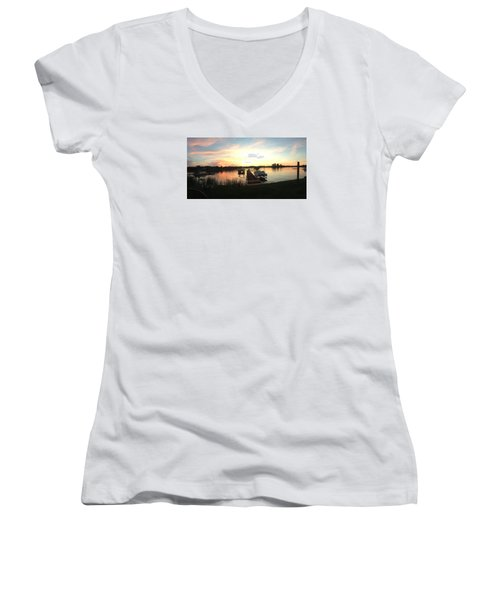 Women's V-Neck T-Shirt (Junior Cut) featuring the photograph Serene Sunset by Rebecca Wood