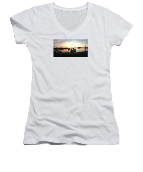 Serene Sunset Women's V-Neck T-Shirt