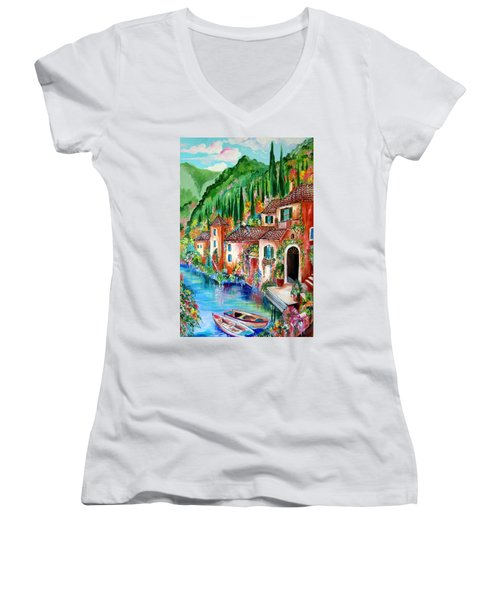 Women's V-Neck T-Shirt (Junior Cut) featuring the painting Serenity By The Lake by Roberto Gagliardi