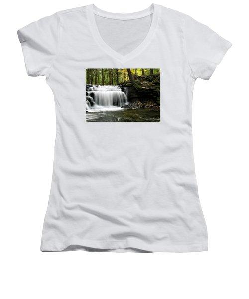 Serenity Waterfalls Landscape Women's V-Neck T-Shirt