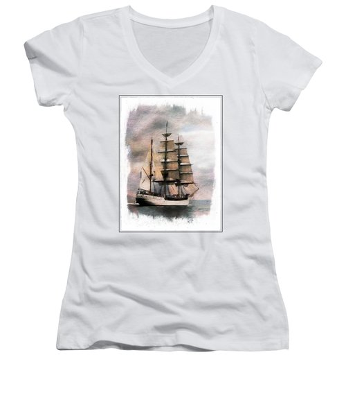 Women's V-Neck T-Shirt featuring the painting Set Sail by Aaron Berg