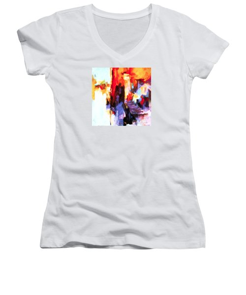 Women's V-Neck T-Shirt (Junior Cut) featuring the painting Seven Steps by Chris Armytage