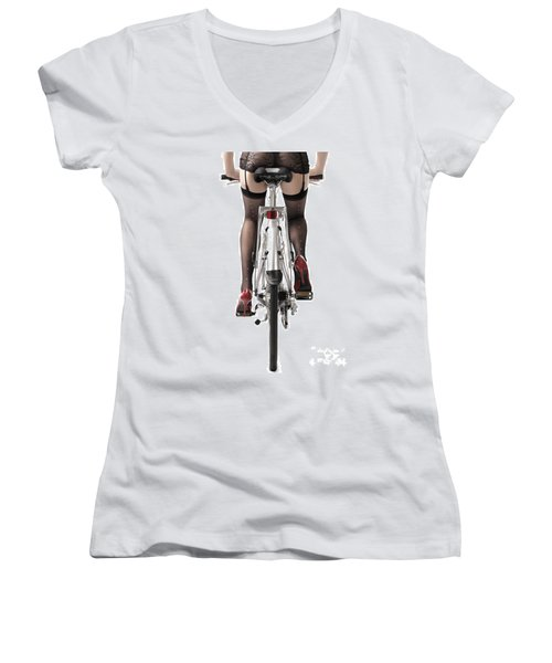Sexy Woman Riding A Bike Women's V-Neck (Athletic Fit)