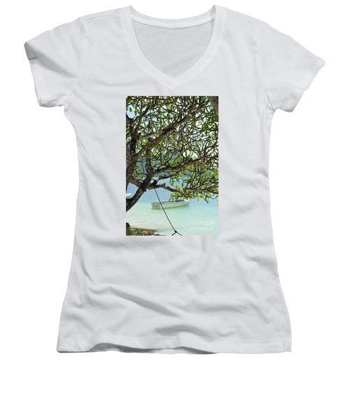 Seychelles Island Women's V-Neck T-Shirt (Junior Cut)