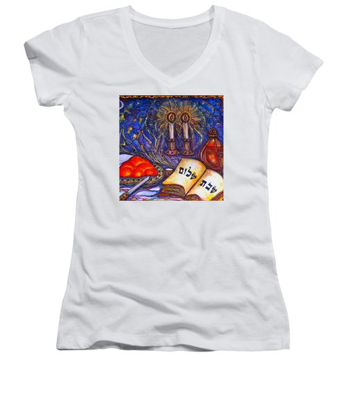 Women's V-Neck T-Shirt (Junior Cut) featuring the painting Shabbat Shalom by Rae Chichilnitsky
