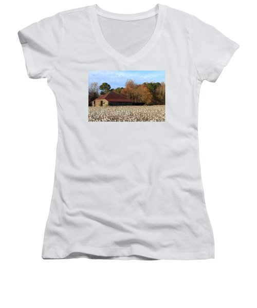 Shack In The Field Women's V-Neck (Athletic Fit)