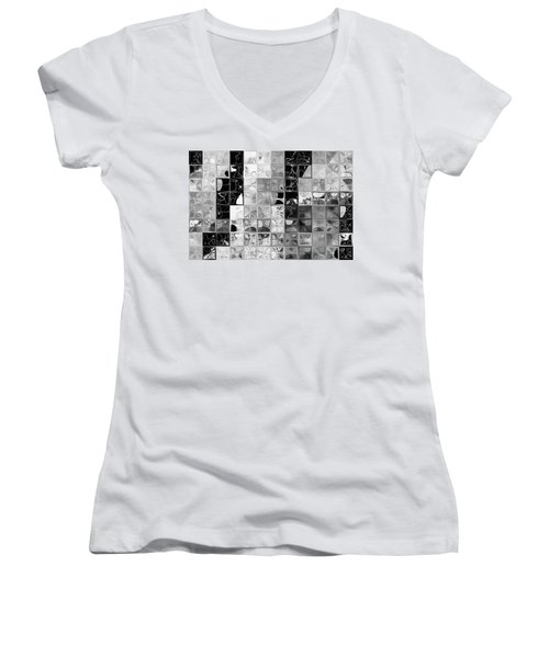 Shades Of Gray Tile Mosaic. Tile Art Painting Women's V-Neck T-Shirt (Junior Cut) by Mark Lawrence