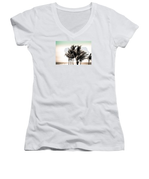 Shades Of Palms - Aqua Brown Women's V-Neck T-Shirt (Junior Cut) by Colleen Kammerer