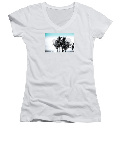 Shades Of Palms - Silver Blue Women's V-Neck T-Shirt (Junior Cut) by Colleen Kammerer