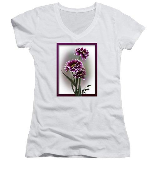 Shades Of Purple Women's V-Neck T-Shirt (Junior Cut) by Judy Johnson