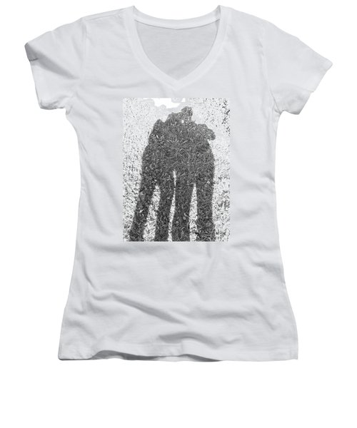 Women's V-Neck T-Shirt (Junior Cut) featuring the photograph Shadow In The Meadow Bw by Wilhelm Hufnagl