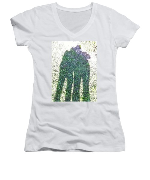 Women's V-Neck T-Shirt (Junior Cut) featuring the photograph Shadow In The Meadow by Wilhelm Hufnagl