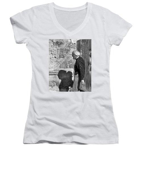 Shadow Of A Man Women's V-Neck T-Shirt (Junior Cut) by Jim Walls PhotoArtist