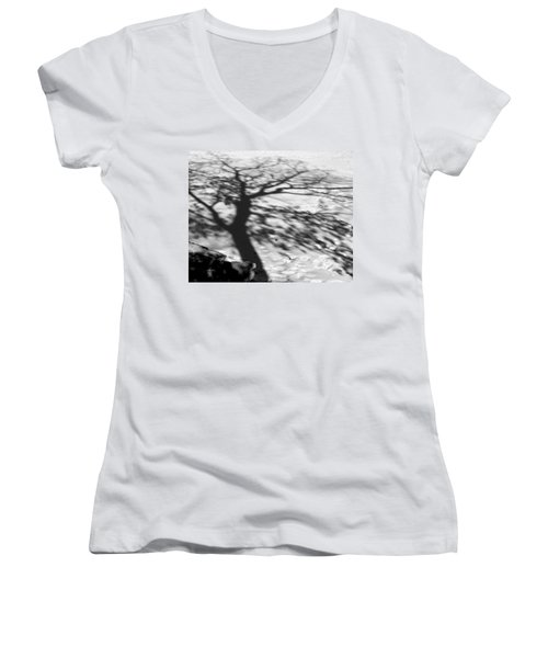 Shadow Tree  Herrick Lake  Naperville Illinois Women's V-Neck T-Shirt (Junior Cut) by Michael Bessler