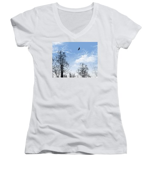 Women's V-Neck T-Shirt (Junior Cut) featuring the painting Shadow by Trilby Cole