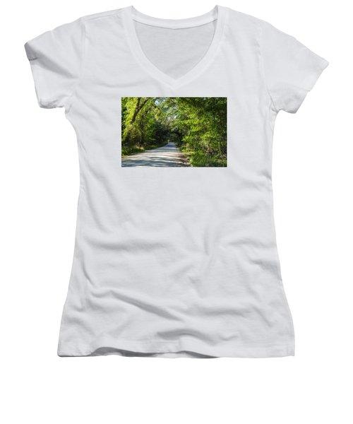 Women's V-Neck T-Shirt (Junior Cut) featuring the photograph Shady Lane In Ocklawaha by Deborah Smolinske