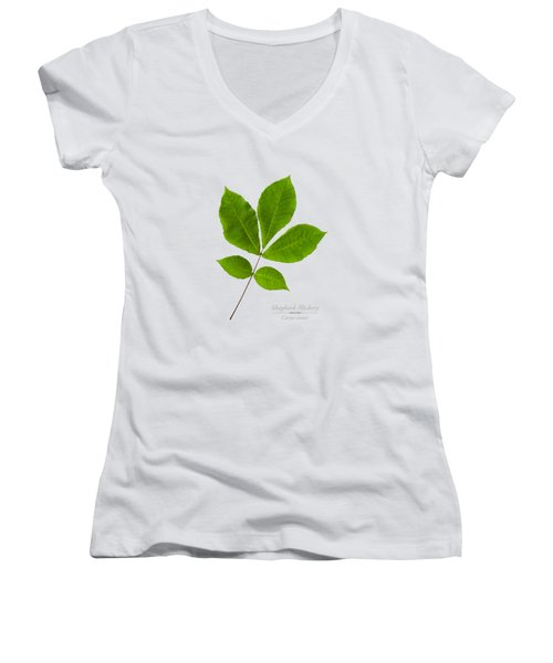Women's V-Neck T-Shirt (Junior Cut) featuring the photograph Shagbark Hickory by Christina Rollo