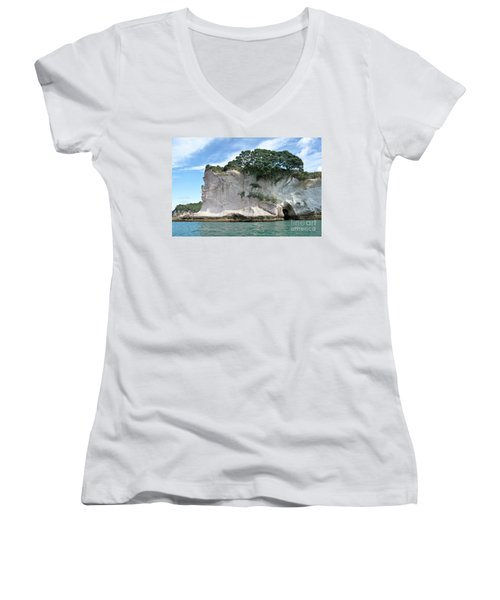 Women's V-Neck T-Shirt (Junior Cut) featuring the photograph Shakespeare Rock, New Zealand by Yurix Sardinelly