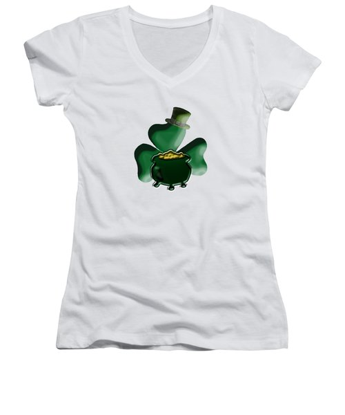 Shamrock And Pot Of Gold Women's V-Neck