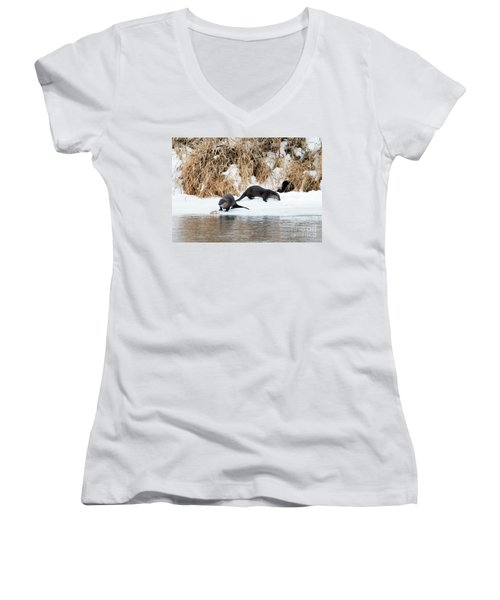 Sharing A Meal Women's V-Neck T-Shirt (Junior Cut) by Mike Dawson
