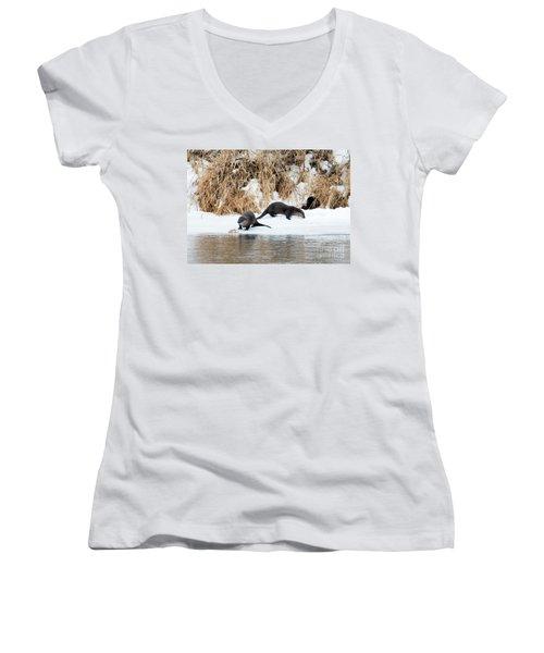 Sharing A Meal Women's V-Neck T-Shirt