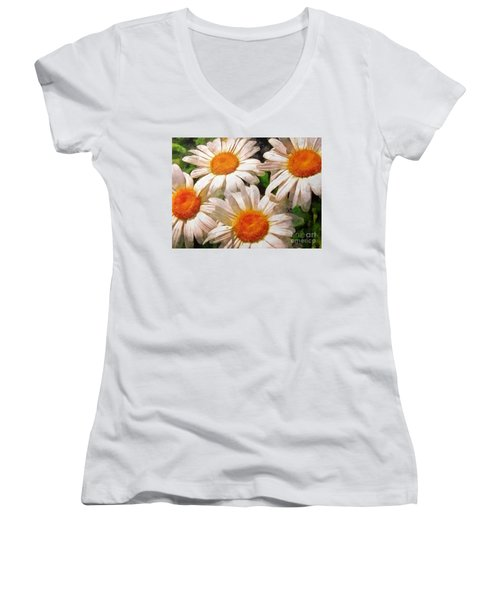 Shasta Daisies 2015 Women's V-Neck (Athletic Fit)