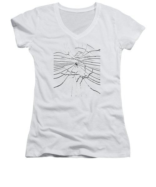Women's V-Neck T-Shirt (Junior Cut) featuring the photograph Shattered Glass - Cracks And Shards by Michal Boubin