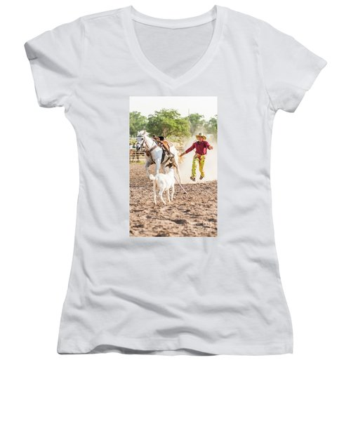 Shawnee Sagers Goat Roping Competition Women's V-Neck (Athletic Fit)