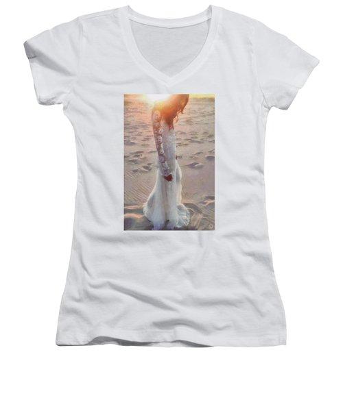 Women's V-Neck T-Shirt (Junior Cut) featuring the digital art She Just Went Away by Gun Legler