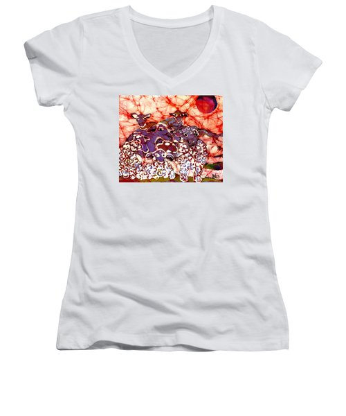 Sheep At Sunset Women's V-Neck (Athletic Fit)