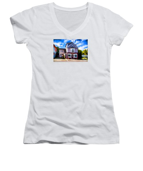 Women's V-Neck T-Shirt (Junior Cut) featuring the photograph Shelbourne Bakery by Rick Bragan