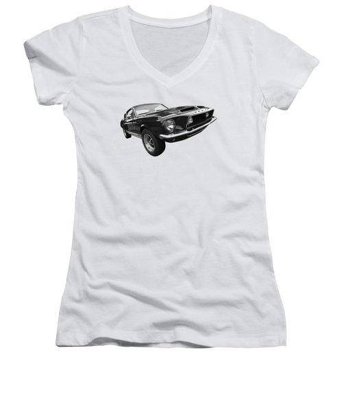 Shelby Gt500kr 1968 In Black And White Women's V-Neck T-Shirt (Junior Cut) by Gill Billington